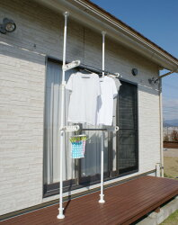 エクステリアポールホワイト1.8m〜3.2m伸縮式屋外用突っ張りポール物干しに園芸に何でもOK!別売りのパーツを組み合わせて自由設計