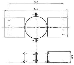 【送料無料】ステンレス勾配屋根用固定金具φ200(φ150mm二重煙突用)No.X0171