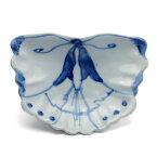 九谷焼:染付蝶形向付・正木春蔵《向付・小皿・扁形皿・15.3cm》