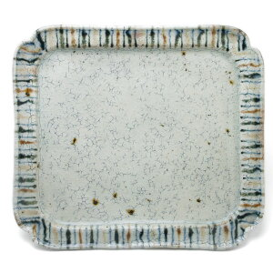 8×7.5寸長角皿・丸文・杉本太郎