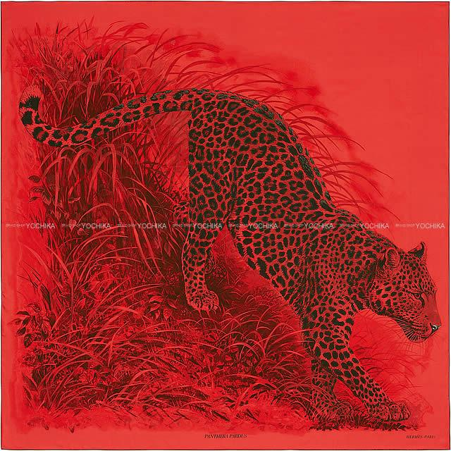 マフラー・スカーフ, レディースマフラー・ストール 2018 HERMES 140 X()X 100 (Carre140 Shawl Panthera Pardus Rouge vifNoir(Black)Bordeaux)