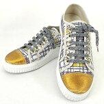 【キャッシュレスポイント還元★】CHANELシャネルレディースツイードラメメタリックスニーカー白(ホワイト)XゴールドXマルチカラーキャンバス#39新品(LadiesTweedFibreYarnMetallicSneakerWhite/Gold/Muti-color)