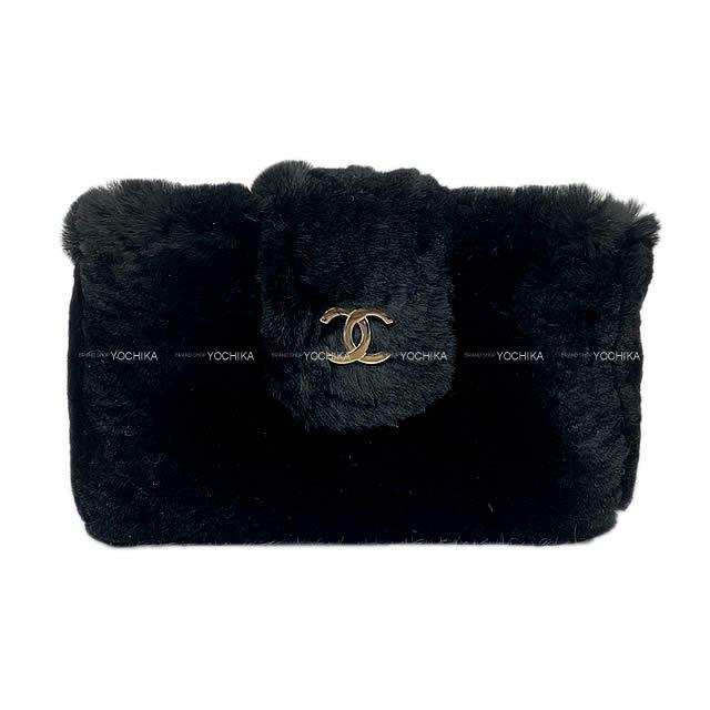 レディースバッグ, 化粧ポーチ CHANEL A68781 (CHANEL Coco mark Multi conmpact case Pouch Black Orylag fur A68781Never usedAuthentic)yochika
