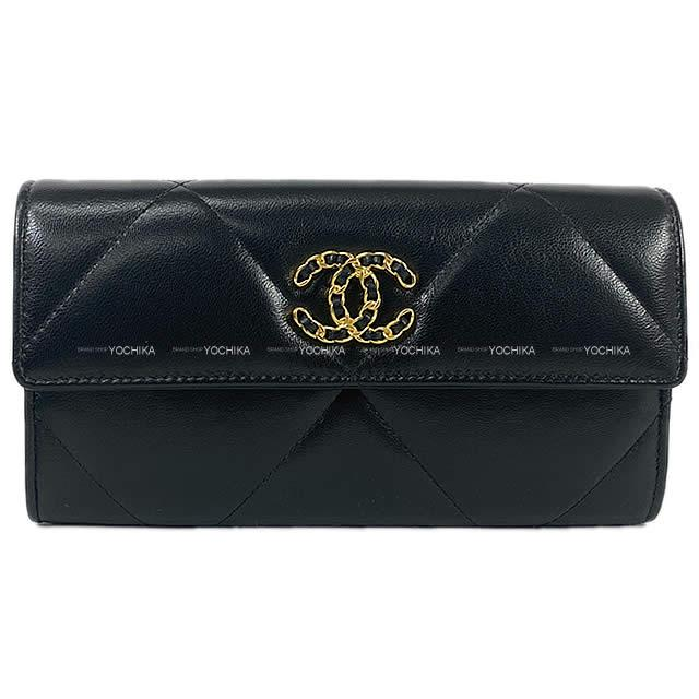 財布・ケース, レディース財布 CHANEL 19 AP0955 (CHANEL 19 Matelasse Chain CocoMark Flap Long Wallet Black)yochika