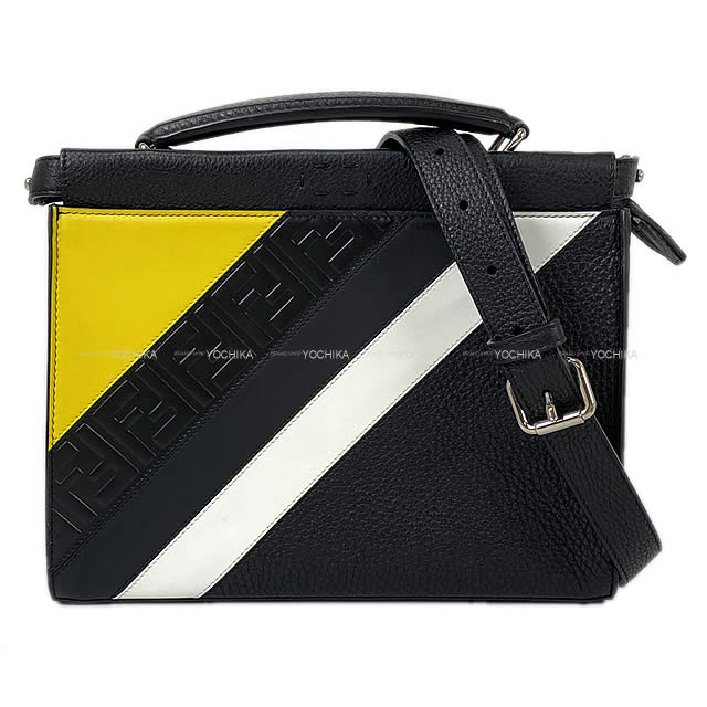 レディースバッグ, ショルダーバッグ・メッセンジャーバッグ  () 87VA422 (FENDI Crutch Shoulder Bag PeekaBoo Fit Mini BlackYellowWhite Roman leatherNever usedAuthentic)yochika