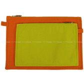 """【新作続々入荷中★】HERMES エルメス フラットポーチ """"ボラボラ"""" 2点セット オレンジXアニス コットン100% 新品未使用 (HERMES Flat Pouch """"PAR 2"""" Two-piece set Orange/Anis Cotton 100% [Never used][Authentic])【あす楽対応】#yochika"""