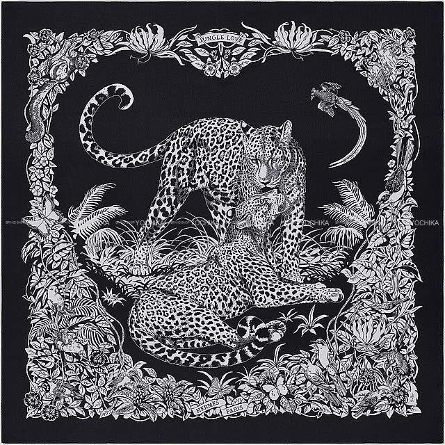 マフラー・スカーフ, レディースマフラー・ストール HERMES 140 X() 70X30 (Carre140 Shawl Jungle Love BleunoirBlanc(White))
