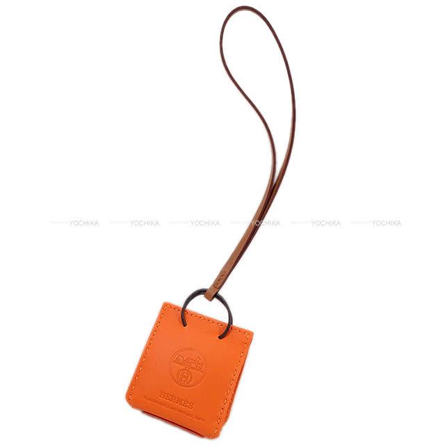 バッグ用アクセサリー, バッグチャーム HERMES Y HERMES bag charm Mini Shopping bagSac Orange Feu Orange Y)