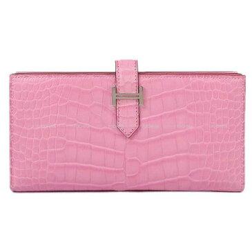 【 キャッシュレスポイント還元★】HERMES エルメス 長財布 ベアンスフレ バブルガムピンク クロコダイル アリゲーター 新品 (HERMES Gusset Wallet Bearn Soufflet bubble gum Pink Alligator[Brand new][Authentic])【あす楽対応】#よちか