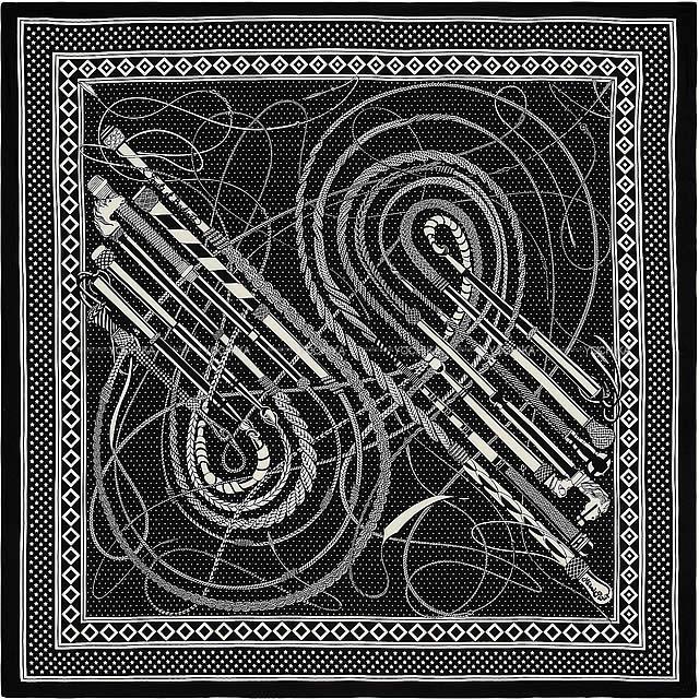 マフラー・スカーフ, レディースマフラー・ストール 2019 HERMES 140 () X (2019 AW HERMES Carre140 Shawl Fouets et Badines Bandana Noir(Black)White CashmereSilkBrand newAuthentic)