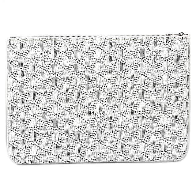 レディースバッグ, クラッチバッグ・セカンドバッグ GOYARD MM PVC (GOYARD Clutch bag pouch Senat MM White CarfPVC Coating canvasNever usedAuthentic)