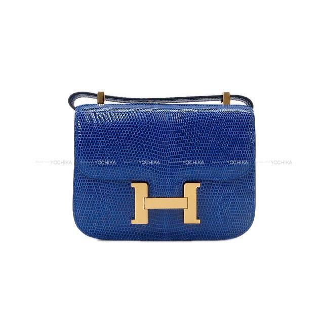 【ご褒美に☆】HERMES エルメス ショルダーバッグ マイクロ コンスタンス ミニミニ ブルーサフィール リザード ゴールド金具 新品 (HERMES Shoulder bag Micro Constance Minimini Blue Saphir Lizard GHW[Brand new][Authentic])【あす楽対応】#よちか