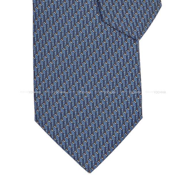 スーツ用ファッション小物, ネクタイ HERMES X 100 (HERMES Heavy twill tie Domino Orange Blue MoyanOrange Silk100Brand newAuthentic)