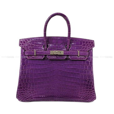 【値下げ!】HERMES エルメス ハンドバッグ バーキン25 ヴィオレ クロコ ニロティカスシャイニー シルバー金具 新品同様【中古】 ([Pre-loved]HERMES Handbags Birkin25 Violet Crocodile Niloticus Lisse SHW[Near Mint][Authentic])【あす楽対応】#よちか【値下げ!】