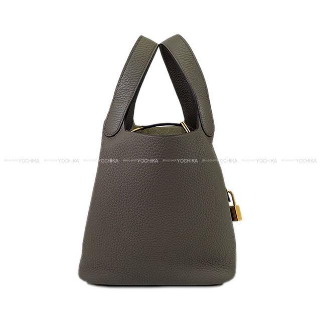 レディースバッグ, ハンドバッグ HERMES 18 PM (Hermes handbag Picotin Lock 18 PM Etain Taurillon Clemence GHWBrand newAuthentic)