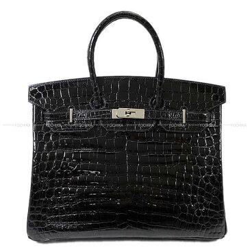 【最大3万円OFFクーポン★5/1?】【値下げ!】HERMES エルメス ハンドバッグ バーキン35 黒(ブラック) ニロティカスシャイニー シルバー金具 新品同様【中古】 ([Pre-loved]HERMES Handbag Birkin35 Black Crocodile Niloticus [Authentic])【あす楽対応】#よちか