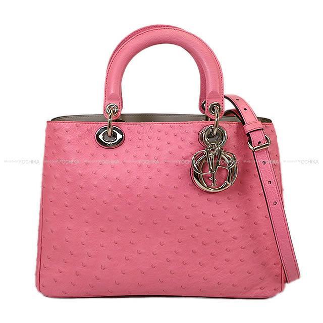 レディースバッグ, 2way・3wayバッグ Christian Dior X 09MA0142 (Christian Dior Shoulder bag Diorissimo Large PinkGray Ostrich 09MA0142Near mintAuthentic)