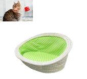 ペットベッド楕円型ライナー付き(小)ペット用品ねこ猫ハウスベッドくつろぎ天然素材ペット家具CFT-212