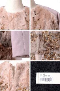 アントニオマラス(ANTONIOMARRAS)刺繍入りファーコートフォックス・ウールダスティピンク
