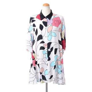 アントニオマラス(ANTONIOMARRAS)シャツ襟フレアーブラウスシルク混合ジャージーフラワープリント