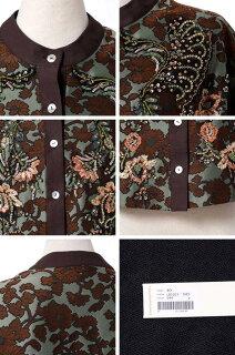 アントニオマラス(ANTONIOMARRAS)前ボタンジャガード織りジャケットサテンカーキフラワー