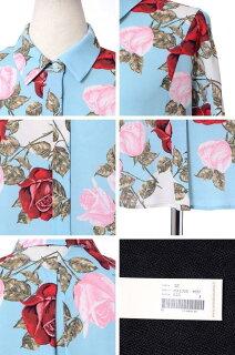 アントニオマラス(ANTONIOMARRAS)七分袖襟付きロングブラウスジャージー生地ブルーフラワープリント