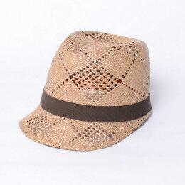 インポートブランド(importbrand)つば付き帽子ストローブラウンリボン