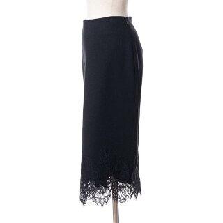 エルマノシェルビーノ(ermannoscervino)裾レースタイトスカート一枚仕立てブラック
