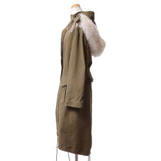 アレキサンダーマックイーン(AlexanderMcQueen)フクロウモッズコート羊毛皮スタッズ付きカーキ