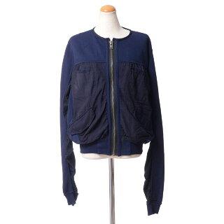 ハイダーアッカーマン(HaiderAckermann)丸襟ジャージージャケットコットンネイビー