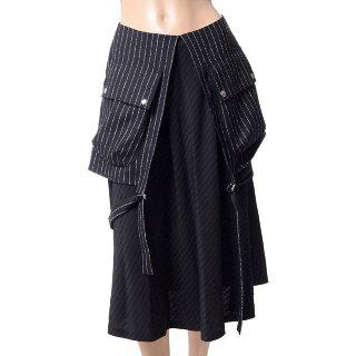 アールト(AALTO)2wayポケット付きスカートウールストレッチブラックストライプ