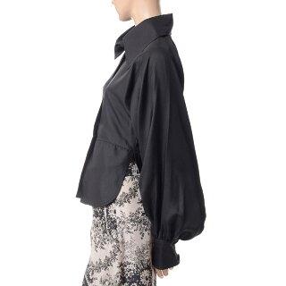 シャロンワコブ(sharonwauchob)大きめ襟のフェミニンシャツシルクブラック