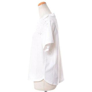 シーバイクロエ(seebychloe)コサージュ付き半袖カットソーコットンホワイト