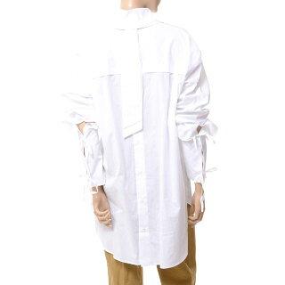 アンドゥムルメステール(anndemeulemeester)タイ付き変形ブラウスコットンホワイト