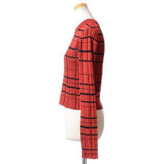 プロエンザスクーラー(ProenzaSchouler)透かし編みショート丈セーターコットンシルクレッドチェック