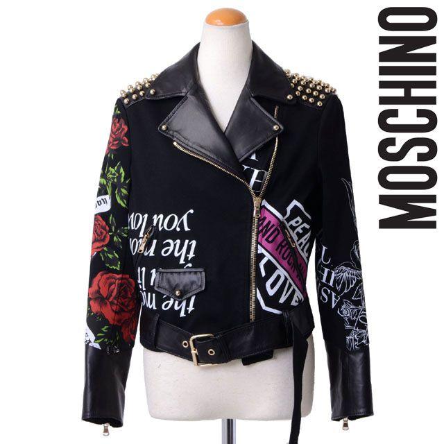 モスキーノ (MOSCHINO) プリントレザーライダースジャケット 121afea370305710555 10,800円以上購入で 【正規取扱】