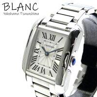 【中古】カルティエタンクアングレースSMW5310022SSシルバー文字盤クオーツレディース腕時計CARTIER横浜BLANC