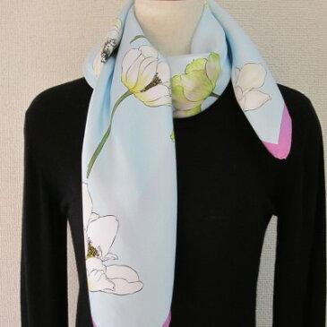 日本製シルク100%スカーフ職人技が光る逸品 横浜でプリントされたレディーススカーフ シンプルで清楚な花アネモネ柄ブルー/ムラ