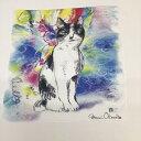 画家の岡本真実さんがデザインした癒しのネコ柄コットン100%白黒柄