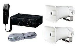 ユニペックス  12V仕様 車載システムセット(エコノミークラス)12V用20W車載アンプ(マイク付)+15Wスピーカー2個+スピーカー接続コード(NDA-202A+CK-231/15×2+LS-404)NDA-202A-B:音響機器/監視機器のヨコプロ