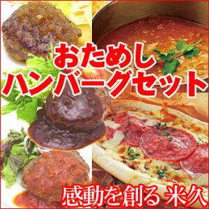 ハンバーグ、ピザ、カリーが入ったお試し以上のおためしセットおためしハンバーグセット