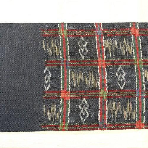 グレー系格子柄八寸帯(袋なごや帯)(正絹)