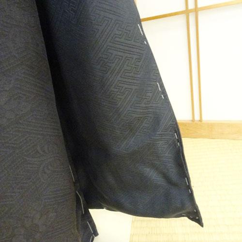 本紋地紋入りスミ黒絞り染め訪問着(正絹)絵羽