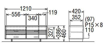 カリモクソリッドボードQT4017MK-AQT4017MS-AQT4017MH-AQT4017ME-A幅121送料無料テレビボードテレビ台【家具のよろこび】【c】