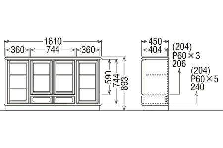 カリモクコロニアルサイドボード幅161HC5307NK送料無料【家具のよろこび】