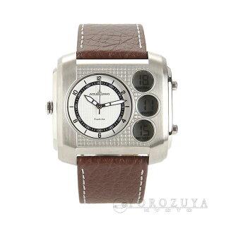 JACQUESLEMANSジャックルマン腕時計1-1780BSS/革ベルトホワイトクォーツメンズ【新品】