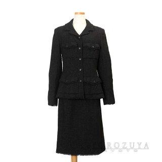 CHANEL シャネル スカート スーツ P21530 V12297 ウール85% ナイロン15% ブラック 【中古】