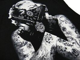 マリリンモンローギャングスターTシャツレディース二丁拳銃