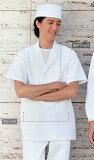 【即日発送可】男性用、男子調理衣白衣 衿付き半袖 O-157対応耐久抗菌加工繊維使用