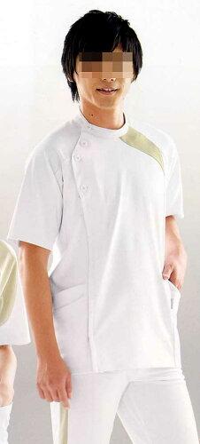 白衣 アシックス[4D]カッティング/メンズジャケット半袖/ホワイト×ベージュLKM501...